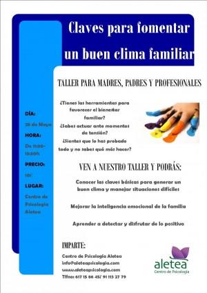 Nuevo taller para madres, padres y profesionales: 'Claves para fomentar un buen clima familiar' | Aletea Psicólogos